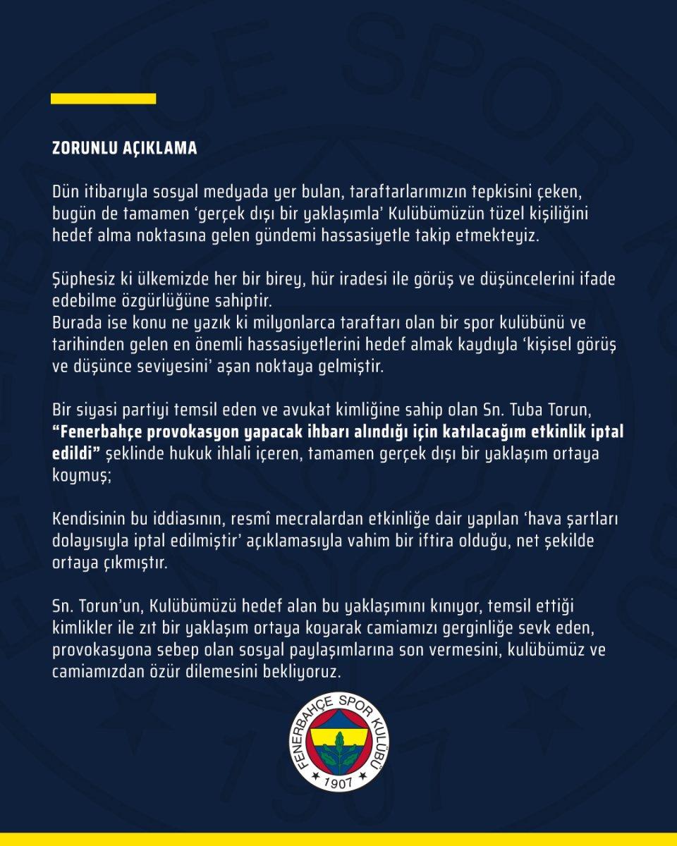 Fenerbahçe den CHP li Tuba Torun a yalanlama #2